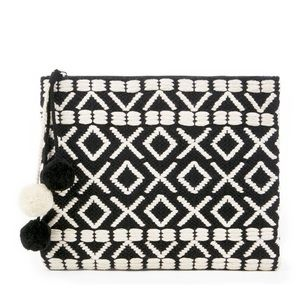 Sole Society Bronte Pom embroidered clutch pouch